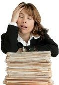 Stressed woman on folders: Stress Express
